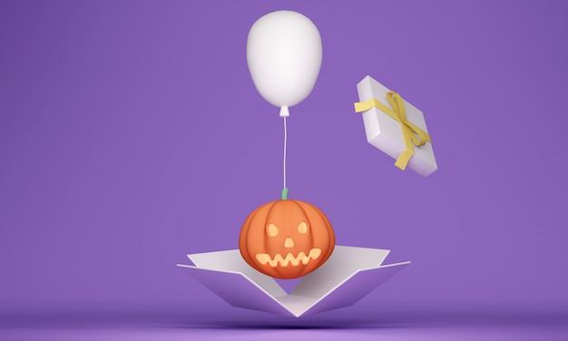 Renderização 3d da caixa de presente branca aberta mostra abóbora e balão dentro do conceito de evento de halloween