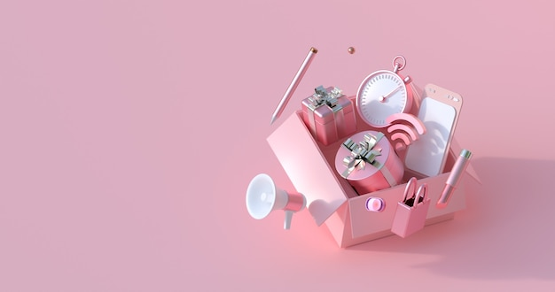 Renderização 3d da caixa-de-rosa e do presente. Foto Premium