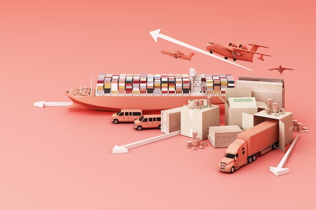 Renderização 3d da caixa do caixote cercada por caixas de papelão, um navio porta-contêineres, um plano voador, um carro, uma van e um caminhão