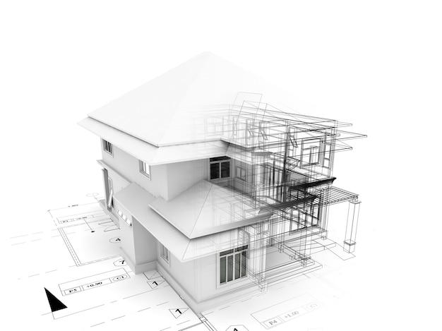 Renderização 3d da casa no plano