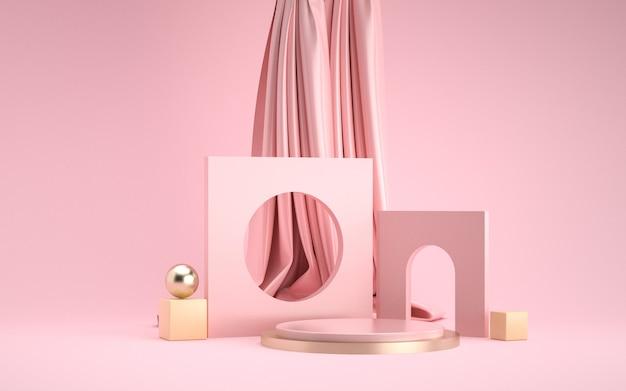 Renderização 3d da cena de fundo de geometria abstrata para exibição de produtos