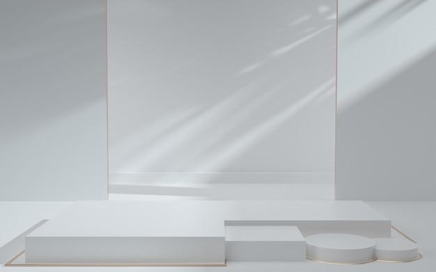 Renderização 3d da cena de fundo geométrico branco abstrato com pódio e sombras para exibição de produtos