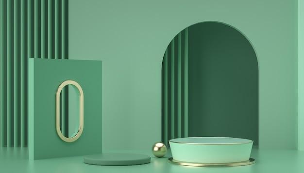 Renderização 3d da cena de fundo verde abstrato para exibição de produtos
