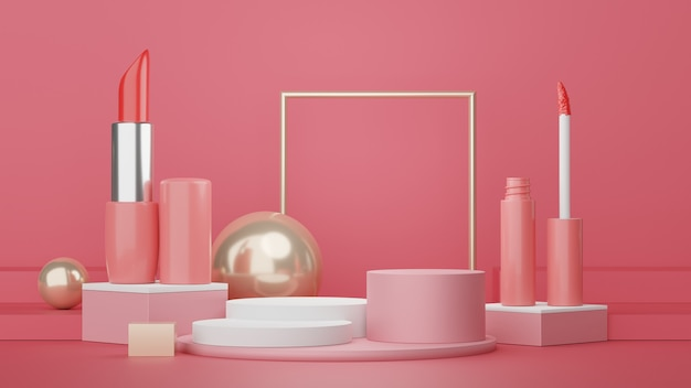 Renderização 3d da cena mínima de um pódio em branco com cosméticos expositor para simulação de produto