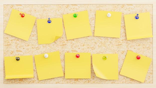 Renderização 3d da coleção de notas adesivas amarelas conectadas a uma placa de madeira compensada para sua maquete