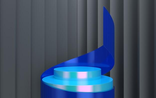 Renderização 3d da composição cbstract com pódio. estúdio mínimo com pedestal redondo e espaço de cópia. vitrine, apresentação do produto.
