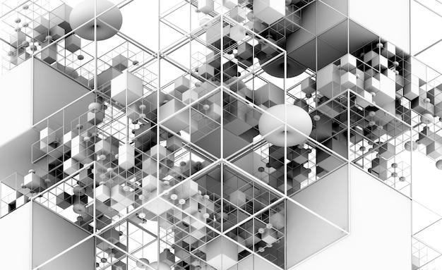 Renderização 3d da construção de um jogo de quebra-cabeça de arte abstrata em vista isométrica com base em figuras geométricas como cubos e esferas
