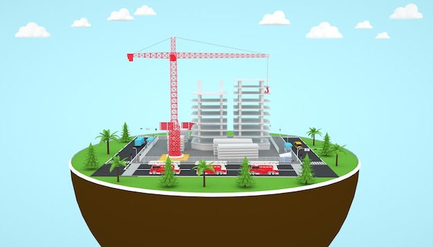 Renderização 3d da criação da torre isométrica