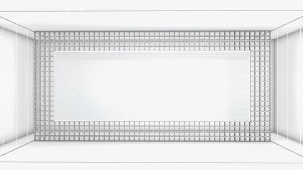 Renderização 3d da forma abstrata do retângulo e iluminação neon na sala
