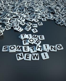 Renderização 3d da hora das palavras para algo novo escrito em blocos de letras