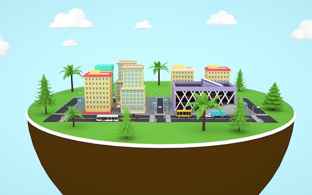 Renderização 3d da ilustração de uma torre da cidade construída no solo