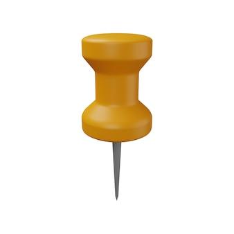 Renderização 3d da ilustração do alfinete. ícone do alfinete 3d. ilustração 3d isolada de alfinete amarelo