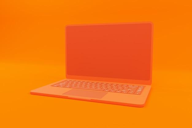 Renderização 3d da ilustração laranja do laptop