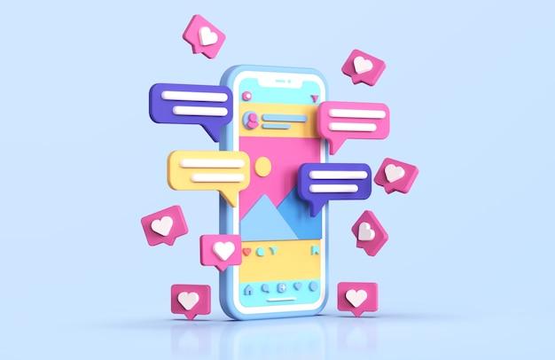 Renderização 3d da interface do instagram para redes sociais
