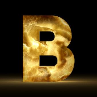 Renderização 3d da letra b feita de mármore brilhante