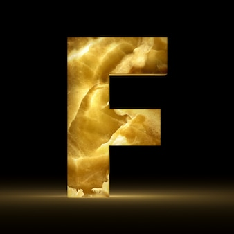 Renderização 3d da letra f feita de mármore brilhante