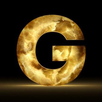 Renderização 3d da letra g feita de mármore brilhante