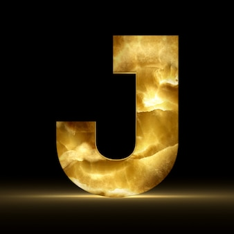Renderização 3d da letra j feita de mármore brilhante
