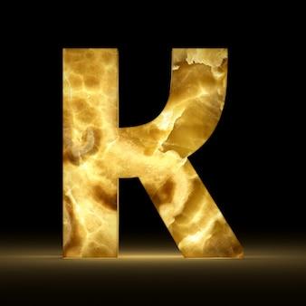 Renderização 3d da letra k feita de mármore brilhante