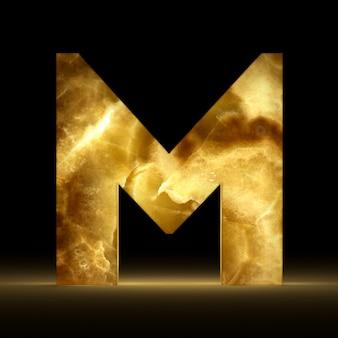 Renderização 3d da letra m feita de mármore brilhante