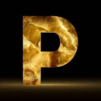 Renderização 3d da letra p feita de mármore brilhante