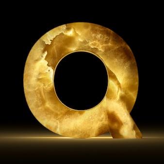 Renderização 3d da letra q, feita de mármore brilhante