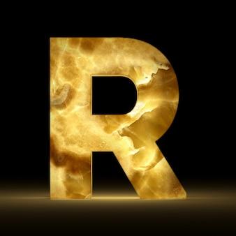 Renderização 3d da letra r, feita de mármore brilhante