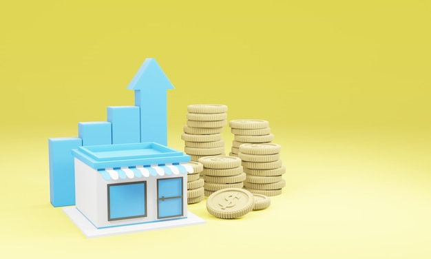 Renderização 3d da loja com barras gráficas azuis e algumas moedas em fundo amarelo