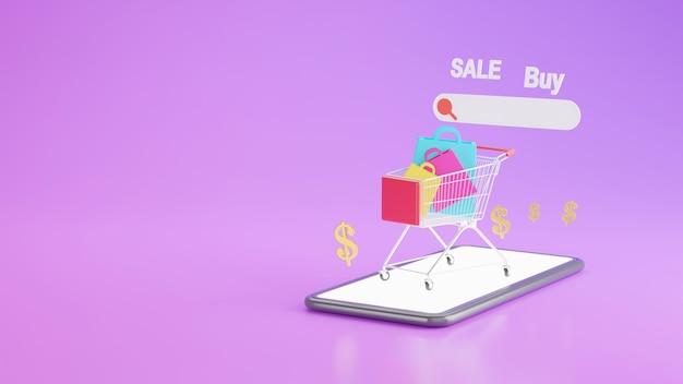 Renderização 3d da loja de compras online no conceito de aplicativo móvel
