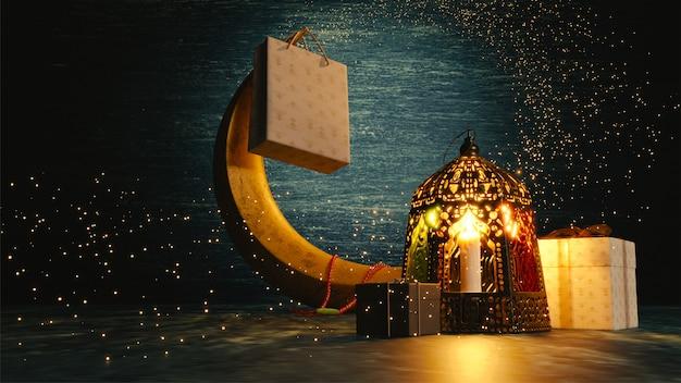 Renderização 3d da lua crescente, lanterna iluminada e presentes