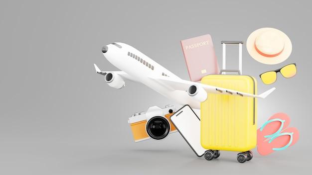 Renderização 3d da mala amarela com acessórios de viagem do conceito de turismo