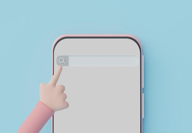 Renderização 3d da mão tocando na barra de menu de pesquisa mínima ou ampliando o banner em branco no celular com espaço de cópia