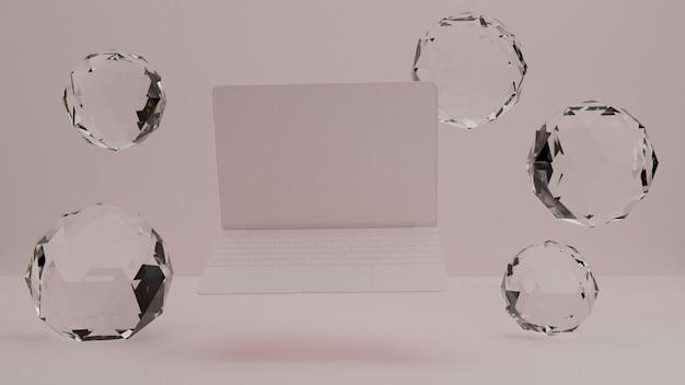 Renderização 3d da maquete de notebook / laptop / dispositivo. estúdio mínimo. pano de fundo interno para página de destino
