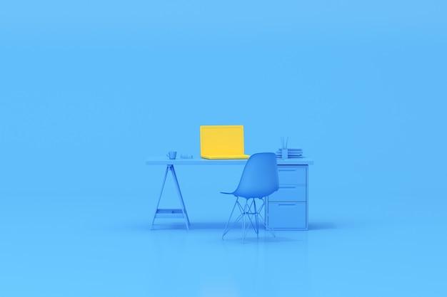 Renderização 3d da mesa da mesa do espaço de trabalho com acessórios para laptop e escritório.