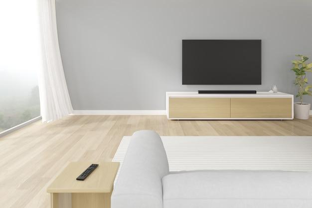 Renderização 3d da moderna sala de estar com sofá e tela de televisão pendurada na parede cinza.