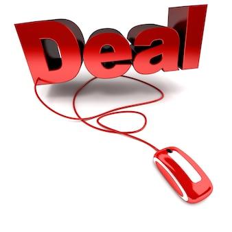 Renderização 3d da palavra acordo conectada a um mouse de computador Foto Premium