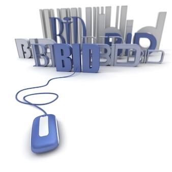 Renderização 3d da palavra bid conectada a um mouse de computador