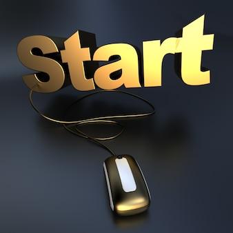 Renderização 3d da palavra começa em ouro conectada a um mouse de computador