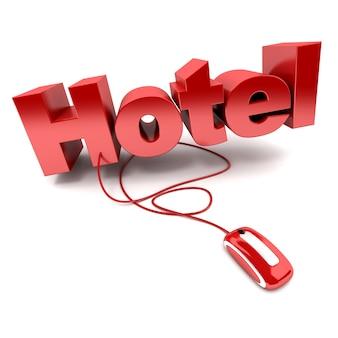 Renderização 3d da palavra hotel conectada a um mouse de computador