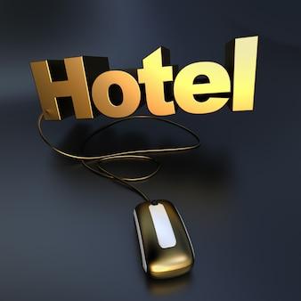 Renderização 3d da palavra hotel em ouro conectada a um mouse de computador