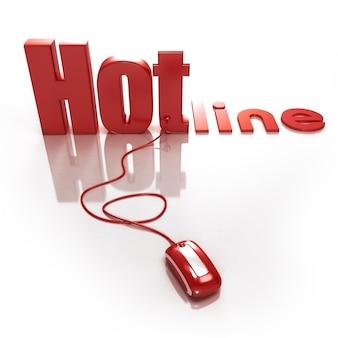 Renderização 3d da palavra hotline conectada a um mouse de computador