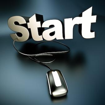 Renderização 3d da palavra start em prata conectada a um mouse de computador