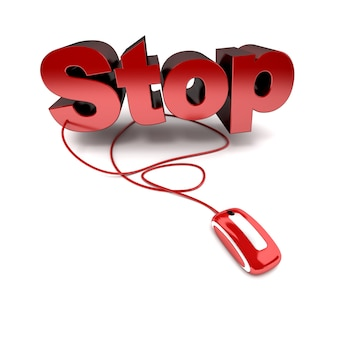 Renderização 3d da palavra stop em vermelho conectada a um mouse de computador