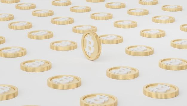 Renderização 3d da pilha de bitcoins e ouro para economizar dinheiro para o objetivo.