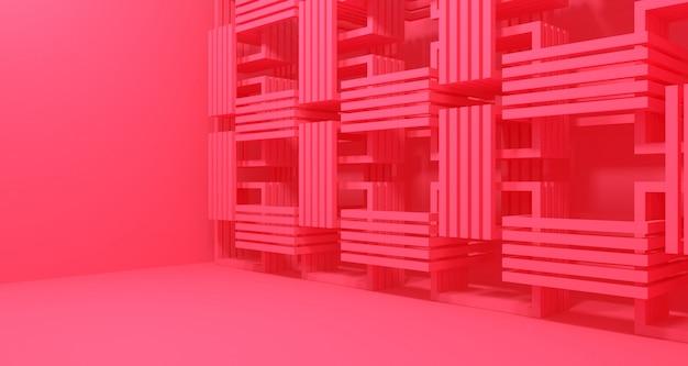 Renderização 3d da pilha de caixas-de-rosa