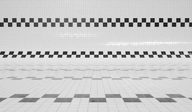 Renderização 3d da piscina de azulejos quadrados preto e branco