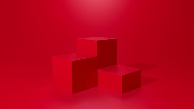 Renderização 3d da plataforma de três cubos
