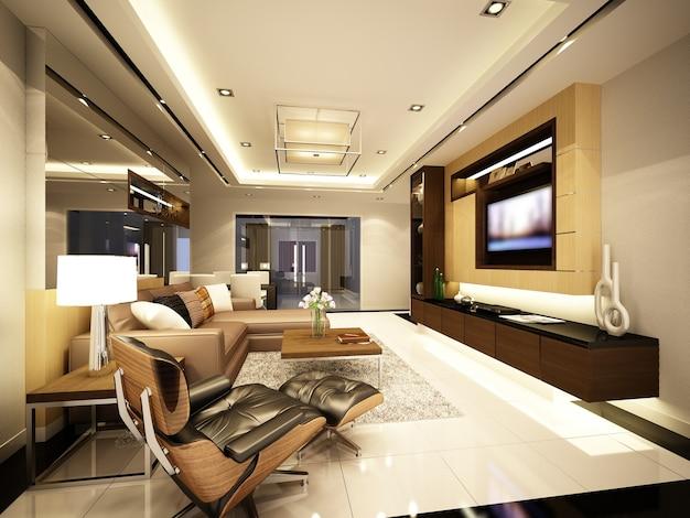 Renderização 3d da sala de estar