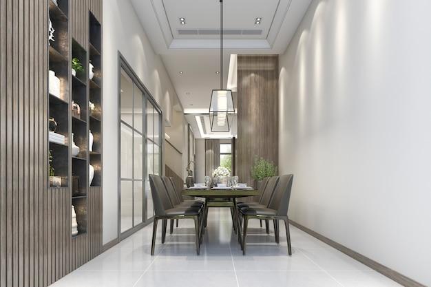 Renderização 3d da sala de jantar moderna de luxo