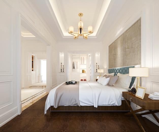 Renderização 3d da suíte de luxo quarto clássico no hotel com roupeiro